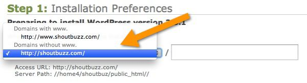 WordPress WWW Preference