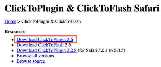 ClickToPlugin Safari Extension