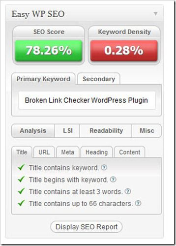 Easy Wp SEO WordPress Plugin thumb EasyWPSEO Plugin : Keyword Optimization Plugin for WordPress