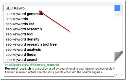 Google Instant search Keyword suggestion thumb