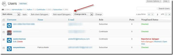 WordPress user admin page thumb WangGuard Plugin : Stop WordPress User Registration Spam