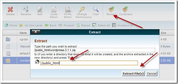 extracting WordPress