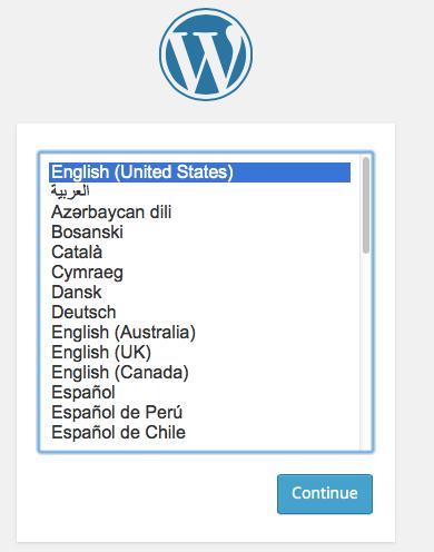 select Installation language