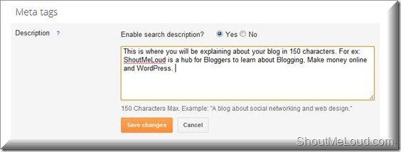 BlogSpot Meta tags