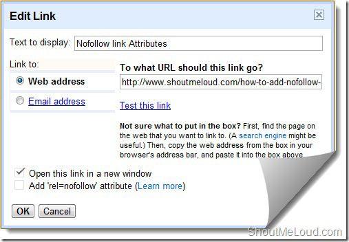 BlogSpot nofollow link rel