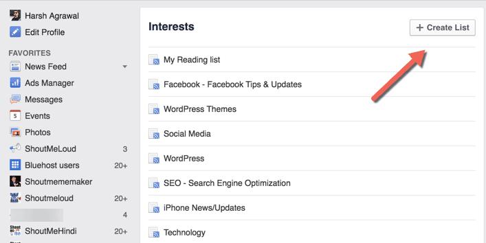 Facebook Interest list
