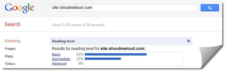 Google reading level