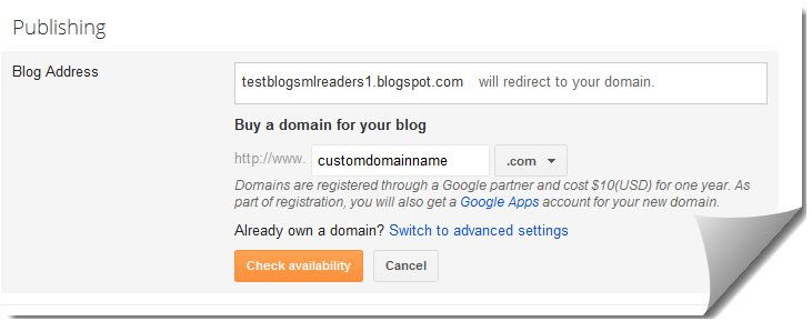 adding domain to BlogSpot