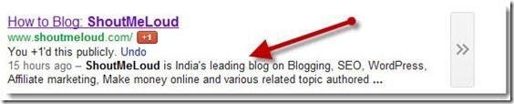description meta tags in search engine result