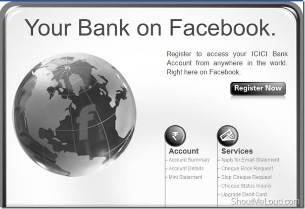 register ICICI on Facebook