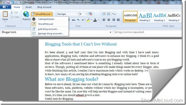 Windows Live writer Blogging Tools that I Cant live Without