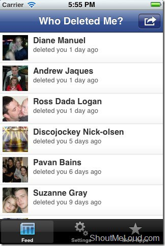 iPhone Fb app who deleted me