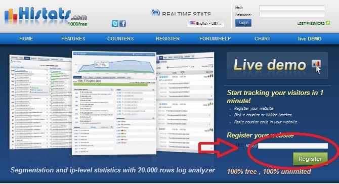 1st How To Get Website Stats Free using Histats