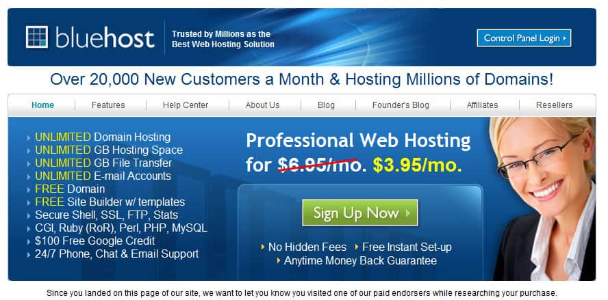 Bluehost WordPress Webhosting Services