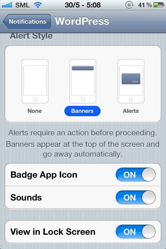 Set push notification in iPhone WordPress iPhone App : Now Push Enabled