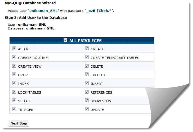 Database Privilage