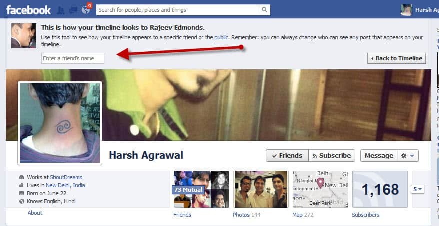 Facebook view as friend feature