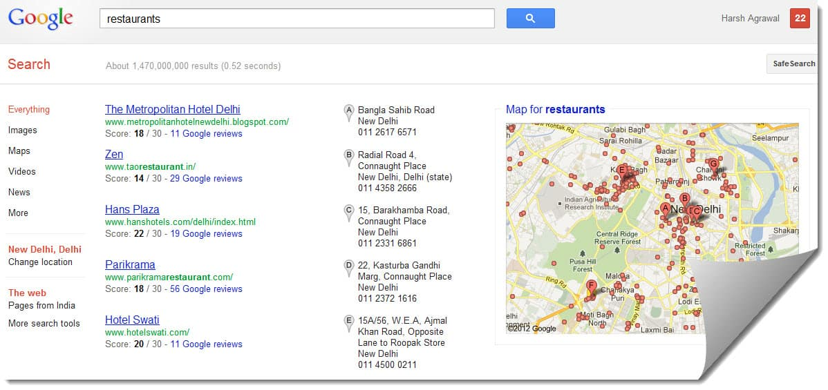 Google place listing Google Plus Local: Find New Places Based on User Recommendations