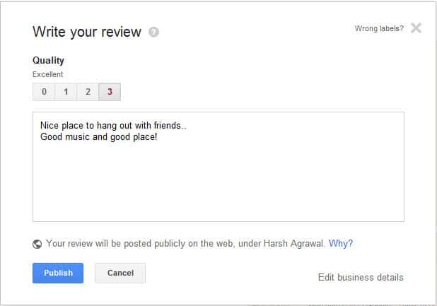 Google place review Google Plus Local: Find New Places Based on User Recommendations