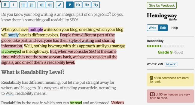 Hemingway Readability score