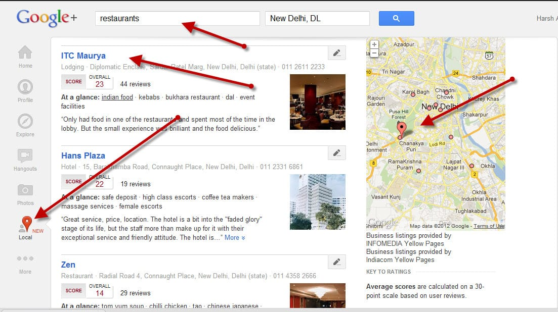 Picture explainaining Google plus Local Google Plus Local: Find New Places Based on User Recommendations
