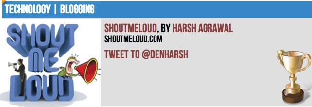 ShoutMeLoud Blog award
