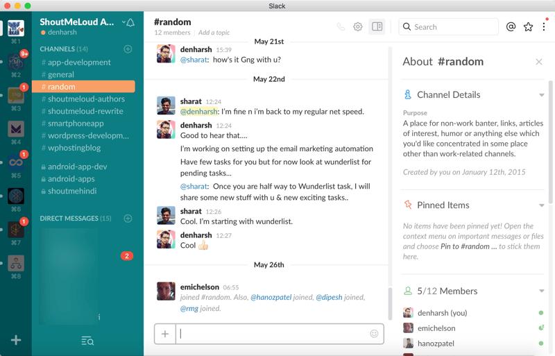 Slack for team communication