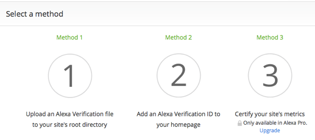 Verify Site ownership on Alexa