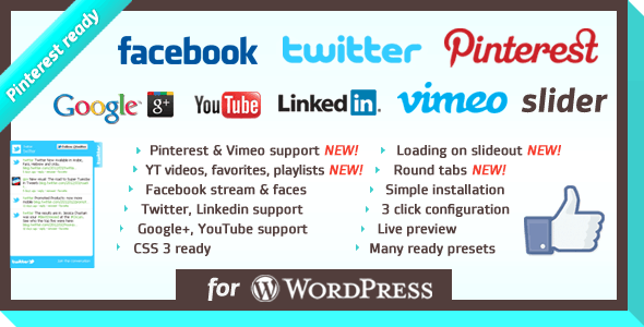WordPress Social Slider plugin WordPress Social Slider Plugin for More Social Media Followers