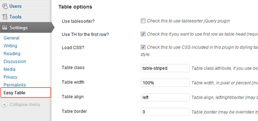 easy table settings Easy Table: WordPress Plugin to Create/Insert Table