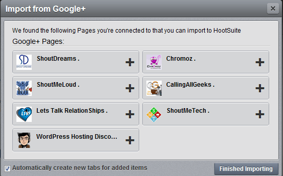 Add Google plus pages