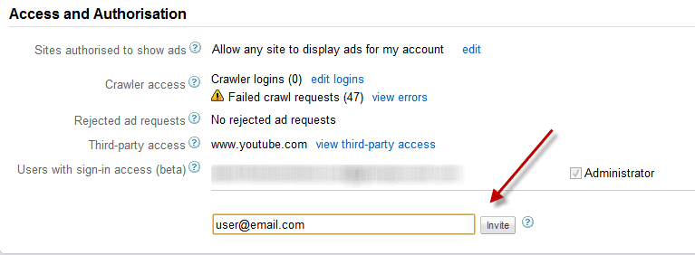 Adsense Invite users