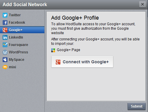 Connect Google plus to Hootsuite