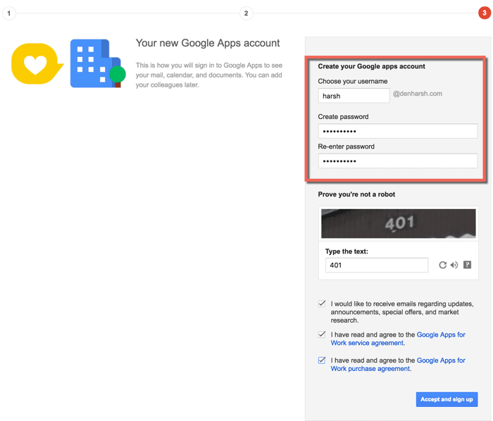 Create Google Apps Email address