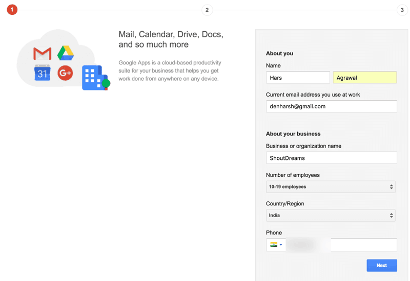 Create Google Apps for Work account