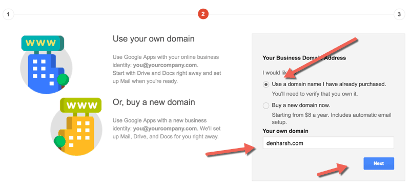 Domain selection Google Apps
