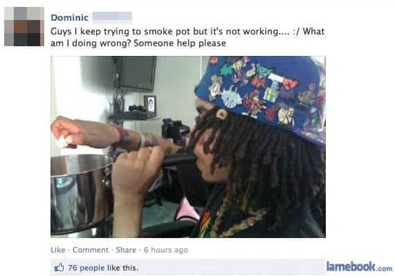Weed smoking on Facebook