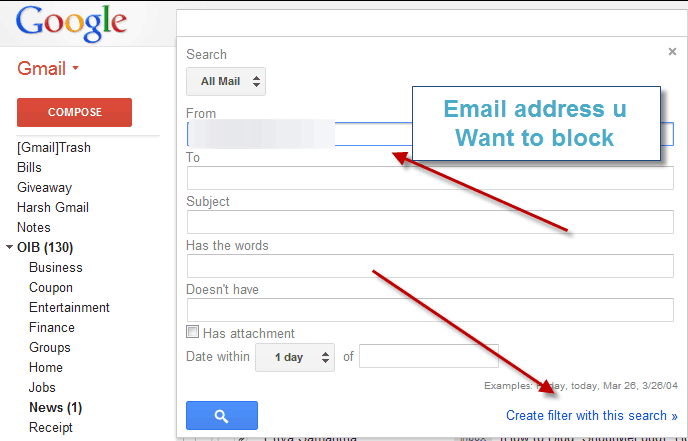 Block Email address in Gmail
