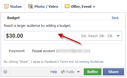 Budget per offerte fb