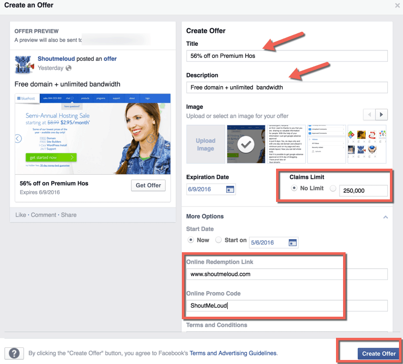 Creating Facebook offer