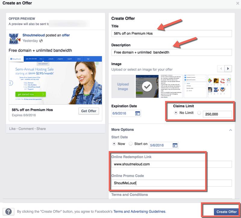 Creazione dell'offerta Facebook