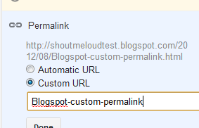 How to use Custom Permalink for Blogspot Blogs
