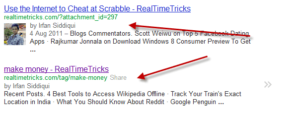 Google indexed attachment and tags