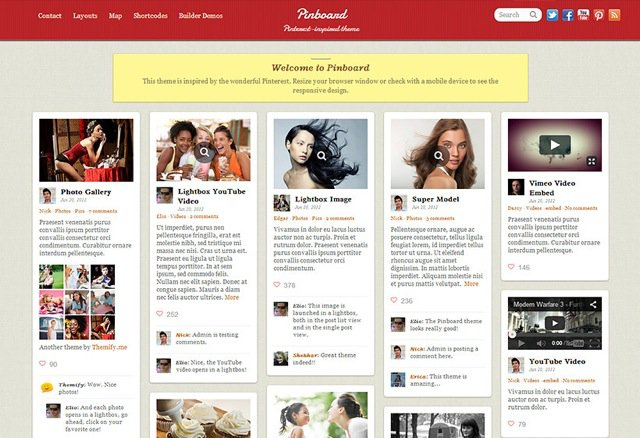 Pinboard pinterest theme