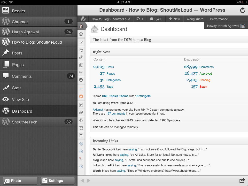 WordPress iPad Dashboard