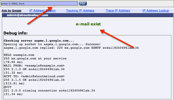 Email address exists