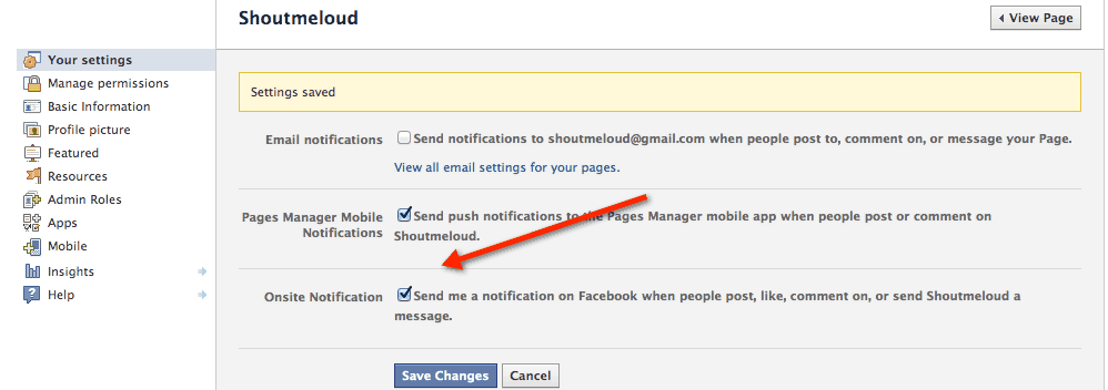 FAcebook on site notification Facebook Added On Site Notification for Page Admins