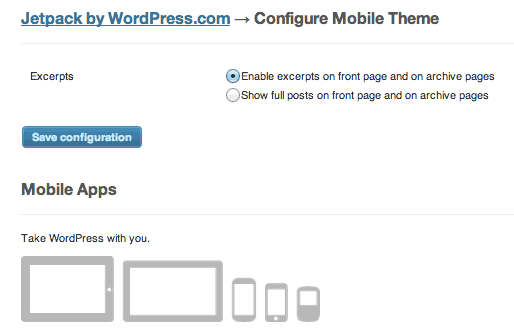 Jetpack mobile theme configuration JetPack 1.8 Added Mobile Theme Option : Heres how to Activate