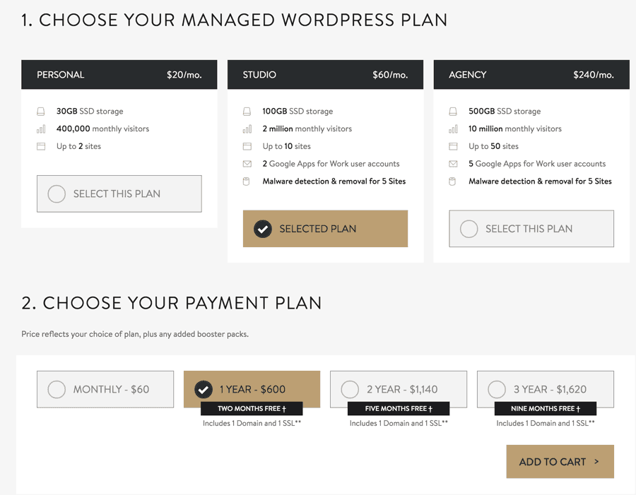 Mediatemple managed WordPress hosting pricing