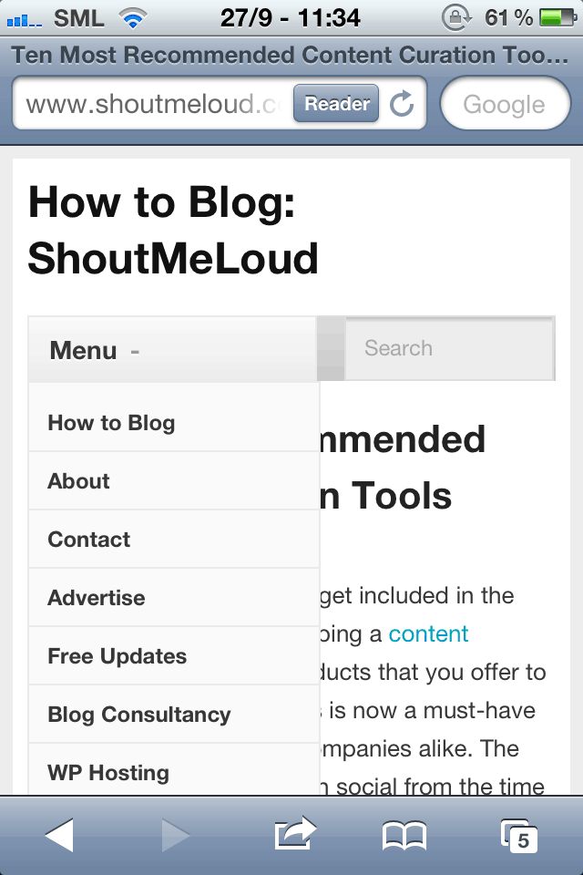 mobile look of ShoutMeLoud